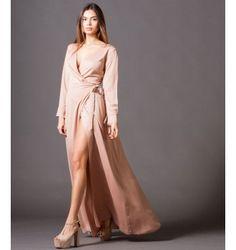 Μάξι Κρουαζέ Φόρεμα με Ζώνη και Ανοιχτά Μανίκια - Μake up 15ec1c63ed4