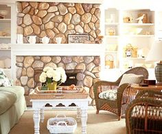 This stone fireplace is beautiful and a great visual point to draw from. I can picture myself curled up in front of a fire in it on a cold winter's night, reading a book.