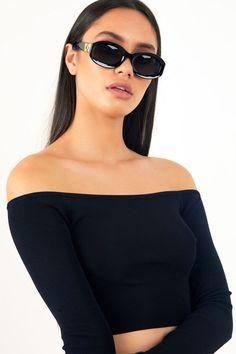 f5fadb0e7a90d LS Off The Shoulder Knit Crop Top - Black