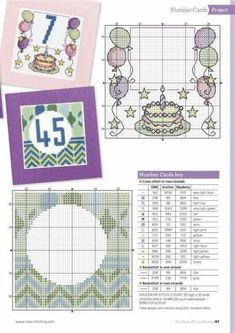 Coming of Age 18th or 21st cross stitch greeting card complete kit on 16 aida