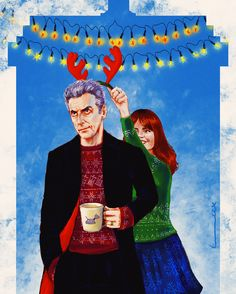 The 12th Doctor and Clara - ''Merry Christmas'' by luluha (deviantART) -- Doctor Who.S08E013 - ''Last Christmas'' (Doctor Who - BBC Series)  source: http://luluha.deviantart.com/art/Merry-Christmas-502323035