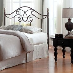 Fashion Bed Group Dynasty Headboard with Arched Metal Grill and Scalloped Finial Posts (Queen), Brown