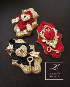 Lorena Rodríguez.  las galletas de San Valentín.  Amor galletas de bloqueo.  Galletas cerradura de la puerta