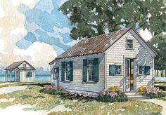 Boathouse or Bunk House - CoastalLivingHousePlans.com  Plan SL-049