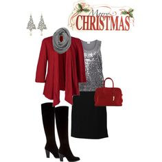 Plus Size Christmas Outfit - I have most of these pieces, never thought of putting them together.