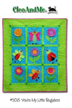 This bright and whimsical wall hanging measures 44.5 x 50.5. Easy piecing and fusible applique, dimensional flowers and wings add an extra