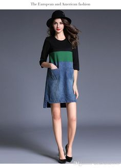 2017 2017 Plus Size Dresses With Pocket Denim Fashion Color Block Crew Neck Women'S Casual Dress Online In Stock Cheap Oversize Gown From Dressonline0603, $61.43 | Dhgate.Com