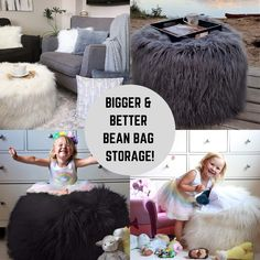 The first ever furry bean bag storage in Amazon! Available in white and gray color. A great storage to keep soft toys, unused blankets or towels and what I love about this is it compliments every space in the house wherever you place it on!