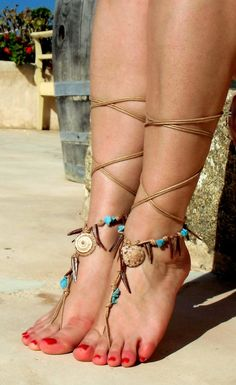 Arm Bracelet Ideas: Native America,  Barefoot Sandals.    < Orig. Tags:  Nude shoes; Foot jewelry; Anklet; Halloween Indian/Tribal costume.        This Pin is linked to direct page. Following is to Main Page: <  https://www.etsy.com/market/Victorian_lace  >.