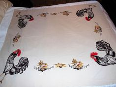 Vintage CALIFORNIA HAND PRINTS Tablecloth Large Roosters Colors Good  | eBay Hand Prints, Vintage California, Vintage Tablecloths, Roosters, Table Linens, Textiles, Colors, Ebay, Vintage Table Linens