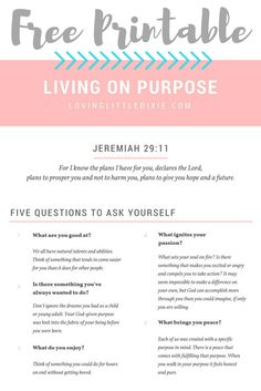 FREE Printable! Transform your life by finding and fulfilling your purpose.