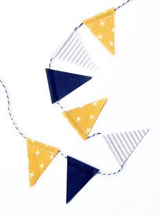 Mini fabric bunting perfect for adorning birthday cakes. Can be made to match your party decor. Reversible and reusable. Fabric Garland, Fabric Bunting, Bunting Design, Cake Bunting, Mustard Yellow, Birthday Cakes, Nautical, Mini, Classic