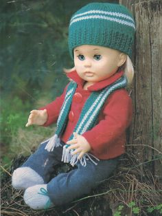 Knit Accessories, pattern for First Love doll from Woman's Value, July Knitting Dolls Clothes, Knitted Dolls, Knitted Hats, Doll Clothes, Crochet Hats, Doll Patterns, Clothing Patterns, Print Patterns, Knitting Patterns