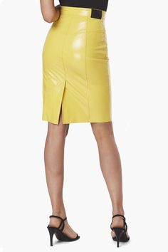 Womens Yellow Margot Vinyl Skinny Skirt from Fiorucci. Get hip to it : this blazing yellow vinyl skirt is high on the waist and snug across the thighs and hugs your figure in all the right places. Make a striking entrance anywhere in this trail blazing skinny skirt. Made in Italy, the Fiorucci way. Real Leather Skirt, Leather Skirts, Vinyl Skirting, Latest Jeans, Tapered Jeans, Rock, Hot Pants, Satin Dresses, Women Wear