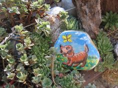 kamene10..Puppy and butterfly painted on stone!