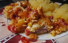 A great choice for a lunchtime lunch. Pork, a vegetable coat and grated cheese on top. Czech Recipes, Ethnic Recipes, Hungarian Recipes, Grated Cheese, Macaroni And Cheese, Lamb, Seafood, Snack Recipes, Food And Drink