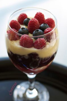 Champagne Vanilla Pudding with Berry Sauce Recipe on FamilyFreshCooking.com © MarlaMeridith.com