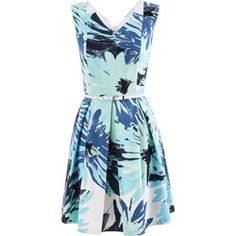 Suknia Bogna niebiesko-zielone kwiaty