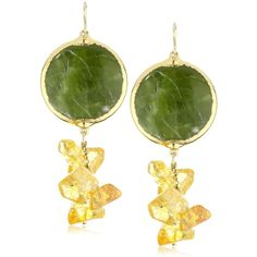 "Devon Leigh ""Nature's Wonders"" Green Garnet in 24k Foil and Citrine Quartz Cluster Earrings ($395) found on Polyvore"
