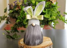 Everyone needs a friend who is all ears! Wallop the Bunny Gnome is a delightful and friendly little fellow. Youll find him scurrying throughout the Nordic meadows with his group of friends... the chocolate bunnies and the marshmallow peeps. He is approximately 7 tall with a 3 bottom