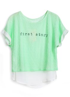 """Green Short Sleeve """"first story"""" Print Lace Blouse"""