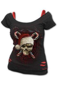 Candy Cane Santa - 2in1 Red... Gothic Tops, Creepy Cute, Off Shoulder Tops, Candy Cane, Black Tops, Christmas Sweaters, Santa, Red, How To Wear