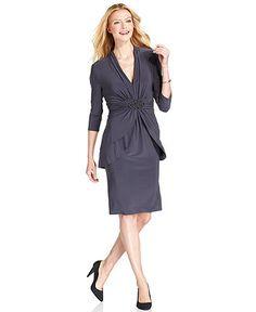 Jones New York Dress, Three-Quarter-Sleeve Ruched Peplum Tiered - Womens Mother of the Bride Dresses - Macy's