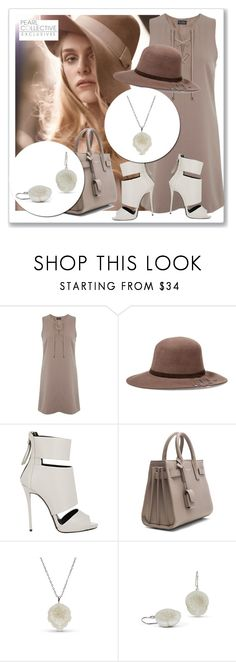 """""""SHOP - Pearl Collective - Necklace & Earrings"""" by pearlcollective ❤ liked on Polyvore featuring Miss Selfridge, Sensi Studio, Giuseppe Zanotti and Yves Saint Laurent"""