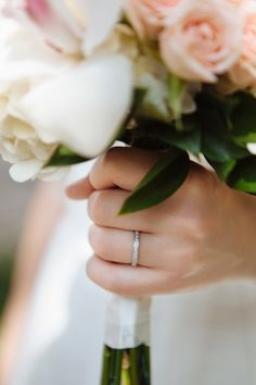 Simple wedding band with pink and white bouquet.  Photos by Smitten Chickens Photography