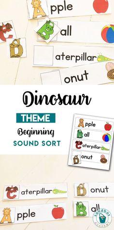 Dinosaur themed letters activity for preschoolers Dinosaur Theme Preschool, Dinosaur Activities, Preschool Literacy, Letter Activities, Sorting Activities, Montessori Homeschool, Math Work, Word Work, Subtraction Activities