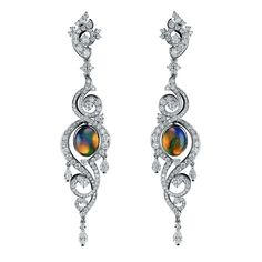 Cluev Opal and Diamond Earrings