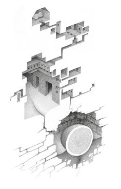 Labyrinth by Mathew Borrett 7 – Fubiz™ Escher Drawings, 3d Drawings, Detailed Drawings, Drawing Rooms, Image Blog, Space Illustration, Perspective Drawing, Architecture Drawings, Art Graphique