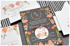 Botanical Tapestry Wedding Invitation Suite   hand drawn whimsical look, vintage flair and orange florals   Smitten On Paper