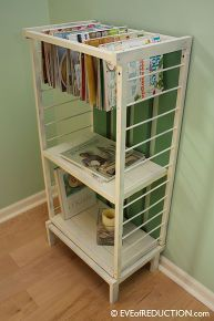 how to upcycle a small crib into a stylish highly functional new piece of furniture, painted furniture, repurposing upcycling, After photo of crib upcycled into a storage unit with magazine hanging rack