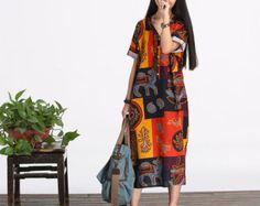 Abito sciolto montaggio lungo a maniche lunghe abito camicetta - donne Maxi maglia in cotone casual