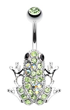 Amazon Frog Multi-Glass-Gem Belly Button Ring - 14 GA (1.6mm) - Light Green/Aurora Borealis - Sold Individually