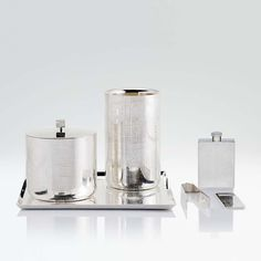 Eis  Drink set  Dimensions:  ICE BUCKET DIAM 14 X 15 H CM - INCH DIAM 5,5 X 5,9 H / BOTTLE HOLDER DIAM 11 X 18 H CM - INCH DIAM 4,3 X 7,1 H / ICE THONGS 14 X3,5 X 2 H CM - INCH 5,5 X 1,4 X 0,8 H / BOTTLE OPENER 12 X 4 X 0,3 H CM - INCH 4,7 X 1,6 X 0,1 H / SQUARE TRAY 32 X 32 X 1 H CM - INCH 12,6 X 12,6 X 0,6 H / FLAT SMALL BOTTLE 7,5 X 2,5 X 11,5 H CM - INCH 3 X 1 X 4,5 H