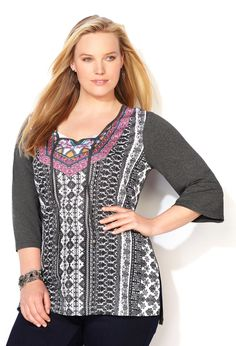 Printed Knit to Woven Peasant Tunic Top-Plus Size Top-Avenue