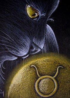 Cat Art...=^. ^=... ❤...Black Cat - Taurus by Artist Cyra R. Cancel...