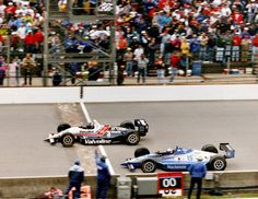 The closest finish in Indy history! Scot Goodyear and Al Unser Jr. battle in the 1992 Indy 500.