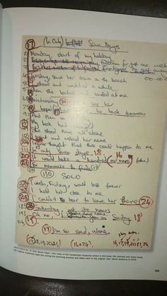 Freddy's handwritten lyrics