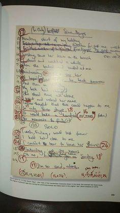 Freddy's handwritten lyrics