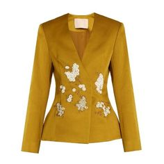Brock Collection Jaynce embellished cotton-blend jacket (£2,435) ❤ liked on Polyvore featuring outerwear, jackets, gold, slim jacket, cotton blend jacket, flower print jacket, slim fit jackets and floral jacket