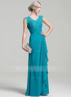 [R$ 444.86] Vestidos princesa/ Formato A Decote V Longos Tecido de seda Vestido para a mãe da noiva com Babados em cascata (008091968)