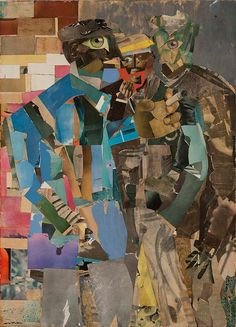 """An outstanding example of Romare Bearden's technique! Created during the civil rights era, Bearden's large-scale collage—or """"montage painting""""—is made up of layers newspaper, magazine clippings, and colored paper. See it in-person (and in full + large scale) as """"Portraits and Other Likenesses"""" opens this week at MoAD. →Romare Bearden, Three Men, 1966-1967; Art   © Romare Bearden Foundation/Licensed by VAGA, New York, NY  #PortraitsRedefined"""