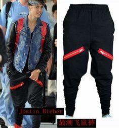 HOT Newest Hip Hop Men Justin Bieber Style Skinny Slim Zippers Pants Jogger Black Harem Pants male Singer Stage Trousers 27-39