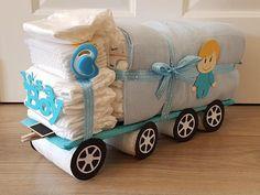 Luiertaart Vrachtwagen Blauw Baby Shower Diapers, Baby Shower Cakes, Baby Shower Gifts, Baby Gifts, Baby Nappy Cakes, Diaper Cake Boy, Diaper Cakes, Diaper Truck, Diaper Parties