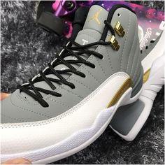 release date: b064e 07972 Nike Air Jordan XII 12 Wolf Grey White Golden Men Basketball Shoes3 All  Jordans, Nike