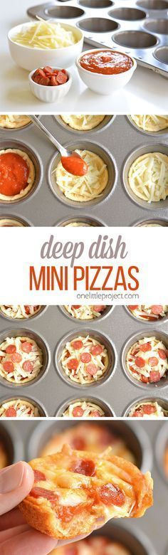 These deep dish mini pizzas are so easy to make and they TASTE AMAZING! They make a great lunch dinner or you could even serve them as an appetizer! The post Deep Dish Mini Pizzas appeared first on Recipes. I Love Food, Good Food, Yummy Food, Mini Pizzas, Receita Mini Pizza, Mini Pizza Recipes, Party Recipes, Pepperoni Recipes, Turkey Pepperoni