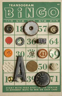 Another Bingo card with neat Buttons and Images -great for store as a display piece Altered Books, Altered Art, Vintage Love, Retro Vintage, Button Cards, Button Button, Creativity Exercises, Bingo Cards, Journal Cards